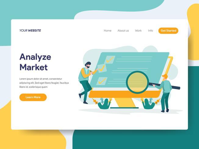 Målsida mall för att analysera marknadsundersökningen. Modernt plattdesignkoncept av webbdesign för webbplats och mobilwebbplats. Vektorns illustration vektor