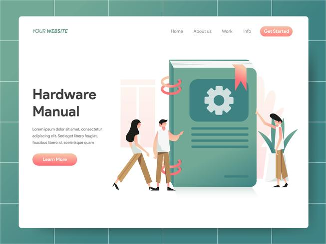 Hardware-Handbuch-Buch-Illustrations-Konzept. Modernes Konzept des Entwurfes des Webseitenentwurfs für Website und bewegliche Website. Vektorillustration ENV 10 vektor