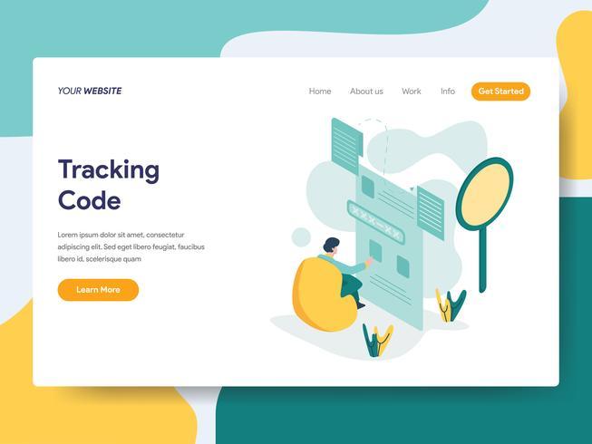 Målsida mall för spårningskod Illustration Concept. Modernt plattdesignkoncept av webbdesign för webbplats och mobilwebbplats. Vektorns illustration vektor