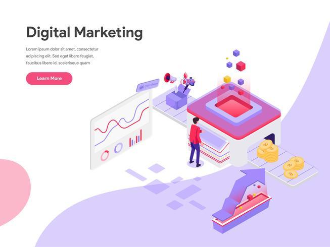 Målsida mall för Digital Marketing Cost Isometric Illustration Concept. Isometrisk plattformkoncept för webbdesign för webbplats och mobilwebbplats. Vektorns illustration vektor
