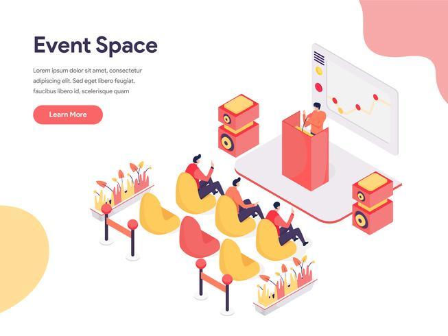 Event Space Illustration Concept. Isometrisk designkoncept för webbdesign för webbplats och mobilwebbplats. Vektorns illustration vektor
