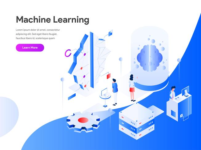 Machine Learning Isometric Illustration Concept. Modernt plandesignkoncept av webbdesign för webbplats och mobilwebbplats. Vector illustration EPS 10