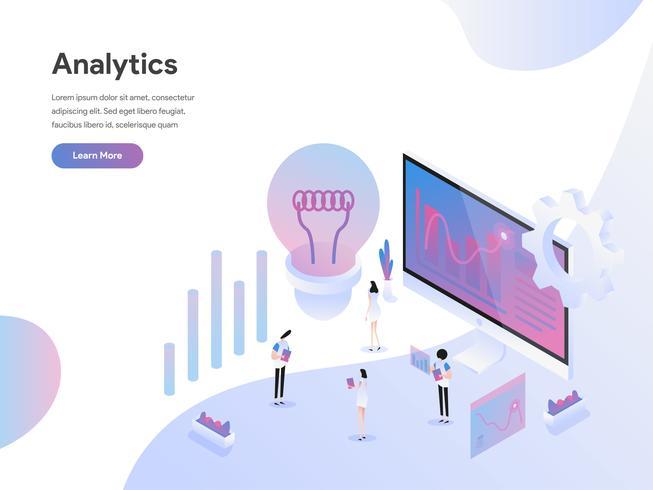 Målsida mall för dataanalys för dataanalys. Isometrisk plattformkoncept för webbdesign för webbplats och mobilwebbplats. Vektorns illustration vektor