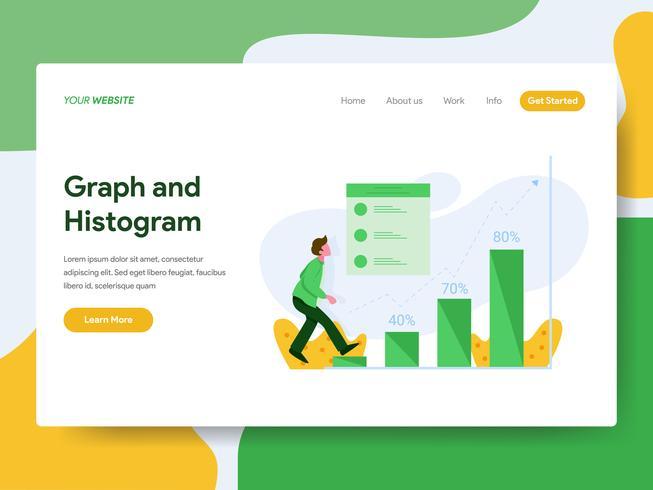 Målsida mall för graf och histogram illustration. Modernt plattdesign koncept av webbdesign för webbplats och mobil website.Vector illustration vektor