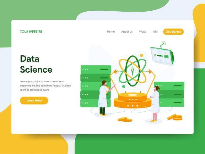 Målsida mall för Data Science Illustration Concept. Modernt plattdesign koncept av webbdesign för webbplats och mobil website.Vector illustration vektor