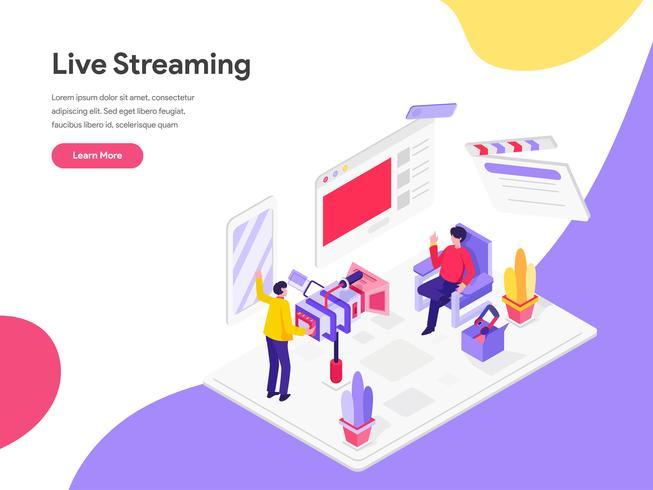 Landingpage-Vorlage von Live Streaming Isometric Illustration Concept. Isometrisches flaches Konzept des Entwurfes des Webseitendesigns für Website und bewegliche Website Auch im corel abgehobenen Betrag vektor