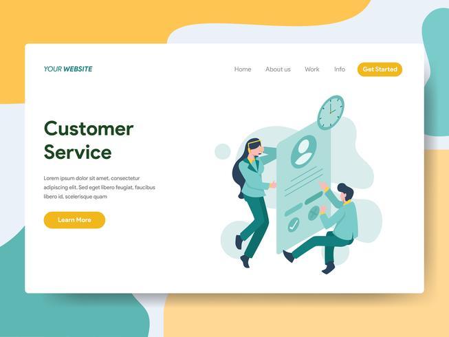 Målsida mall av kundservice illustration koncept. Modernt plattdesign koncept av webbdesign för webbplats och mobil website.Vector illustration vektor