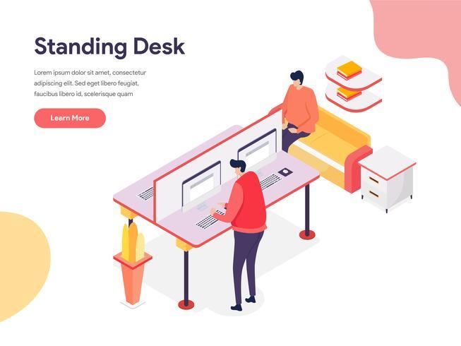 Stående skrivbordsillustrationskoncept. Isometrisk designkoncept för webbdesign för webbplats och mobilwebbplats. Vektorns illustration vektor