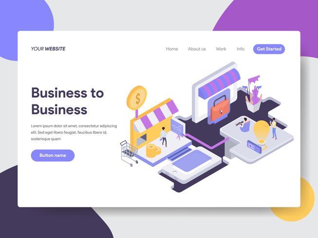 Målsida mall för Business to Business Illustration Concept. Isometrisk plattformkoncept för webbdesign för webbplats och mobilwebbplats. Vektorns illustration vektor