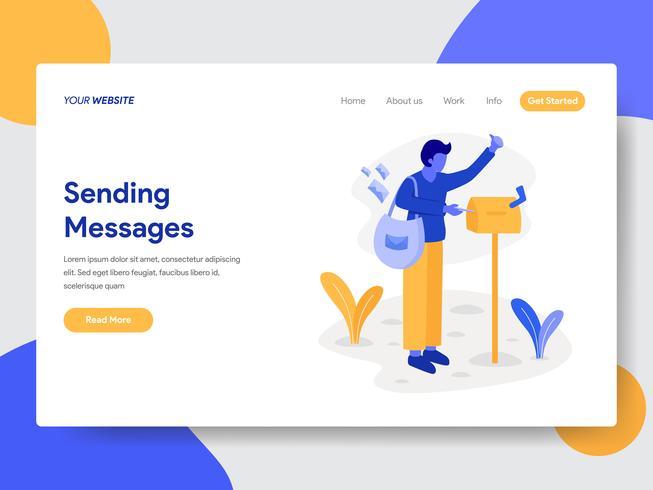 Målsida mall för Deliveryman med brevlåda illustration koncept. Modernt plattdesignkoncept av webbdesign för webbplats och mobilwebbplats. Vektorns illustration vektor