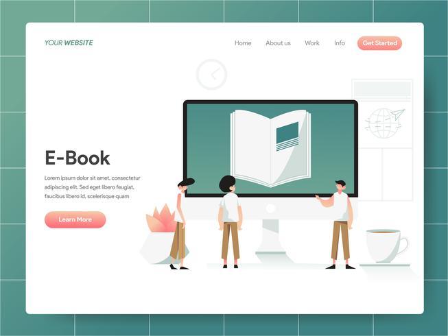 E-Book-Illustration-Konzept. Modernes Konzept des Entwurfes des Webseitenentwurfs für Website und bewegliche Website. Vektorillustration ENV 10 vektor