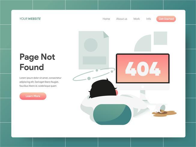 404 Error Page Not Found Illustration. Modernt plandesignkoncept av webbdesign för webbplats och mobilwebbplats. Vector illustration EPS 10