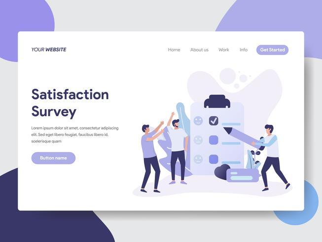 Målsida mall av Tillfredsställelse Survey illustration Concept. Modernt plattdesignkoncept av webbdesign för webbplats och mobilwebbplats. Vektorns illustration vektor
