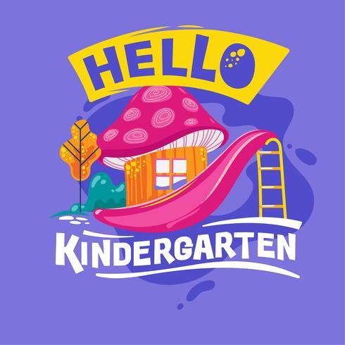 Hallo Kindergarten-Phrase mit bunter Illustration. Zurück zu Schulzitat vektor