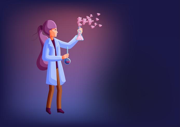Kvinna forskare eller student håller två bägare och utför vetenskapligt experiment. vektor