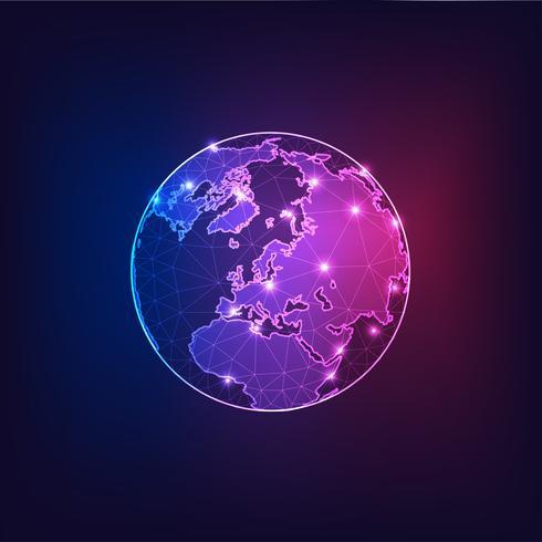 Europa på jorden Globe utsikt från rymden med kontinenter skisserar abstrakt bakgrund. vektor