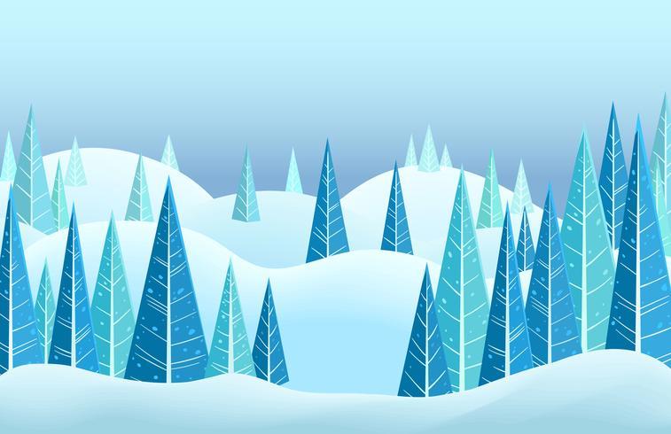 Vektor vinter horisontellt landskap med snötäckta kullar och triangel barrträd. Tecknad illustration