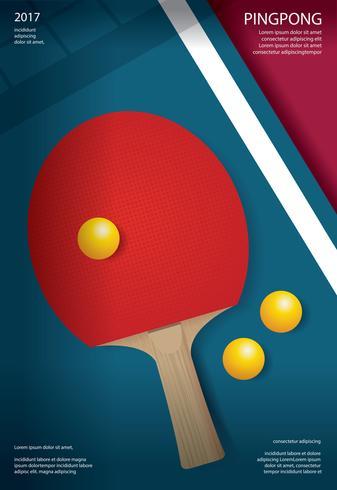 Pingpong-Plakat-Schablonen-Vektor-Illustration vektor