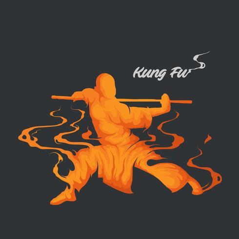 Kampfkunst-Kung Fu-Silhouette vektor