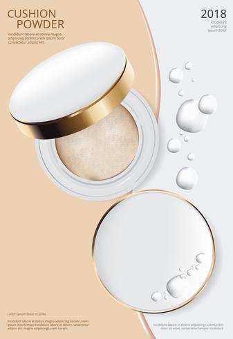 Make-up Puder Kissen Plakat Vorlage Vektor-Illustration vektor