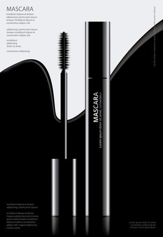 Plakat-kosmetische Wimperntusche mit Verpackungs-Vektor-Illustration vektor
