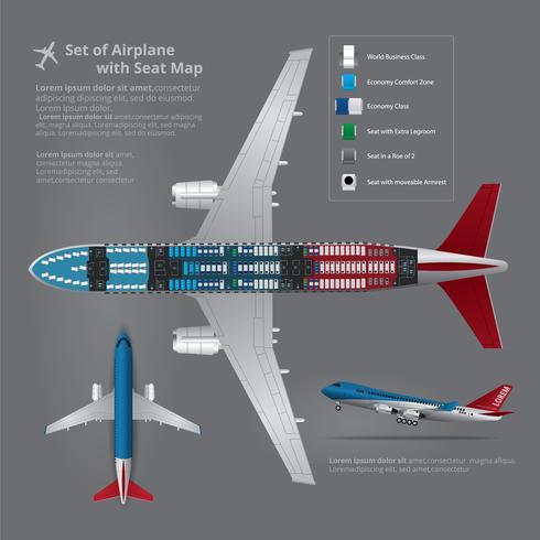 Satz der Flugzeuglandung mit Seat-Karte lokalisierter Vektor-Illustration vektor