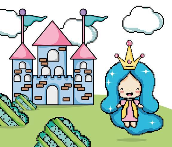 pixelated videogame fantasy scenery vektor