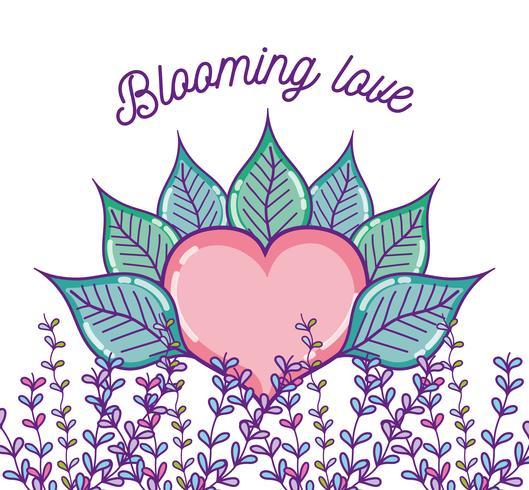 Blomstrande kärleksteckningar vektor