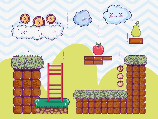 Pixelated retro videogame landskap vektor