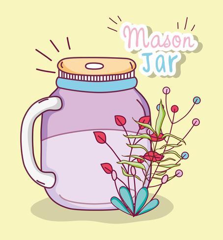 Einmachglas mit Blumen vektor
