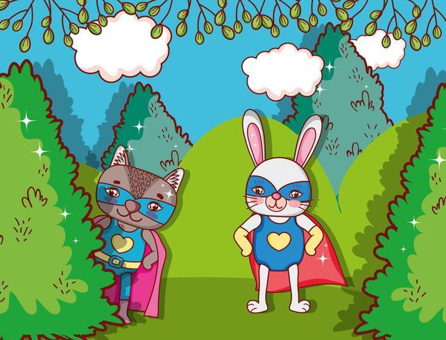 Superhero djurteckningar vektor