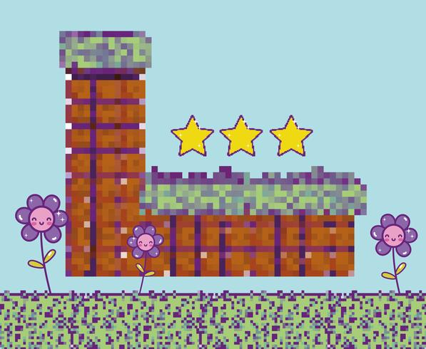 Pixelated videogame landskap vektor