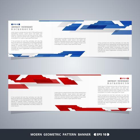 Abstrakta moderna gradientblå och röd teknik banderoller. vektor