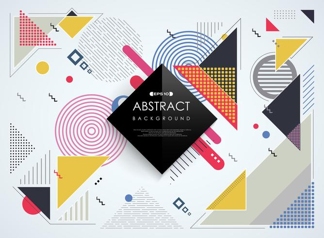 Abstrakt färgstarka Memphis geometriska mönster bakgrund. vektor