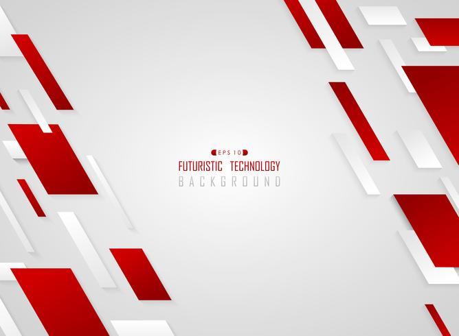 Rote geometrische Technologiestreifenlinie Bewegungshintergrund der abstrakten Steigung. vektor