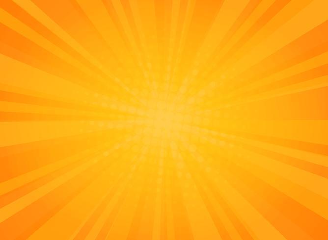 Abstrakt solig utstrålningsmönster av komisk halvton bakgrund i gul. vektor