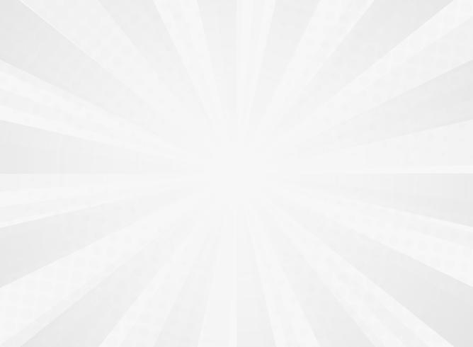 Abstrakt solig utstrålningsmönster av komisk halvton bakgrund av grått. vektor