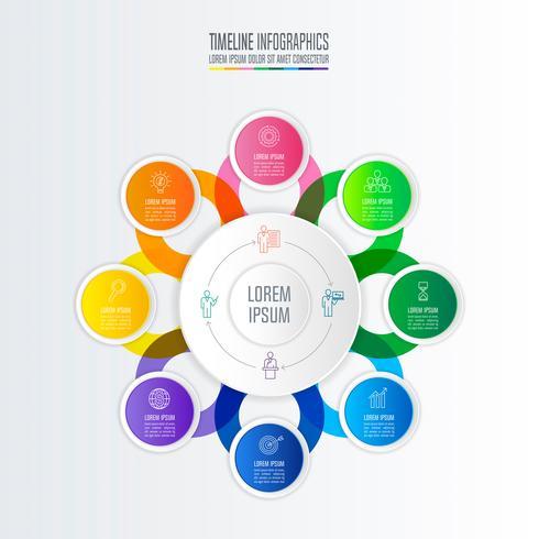 Infographik Design Geschäftskonzept mit 8 Optionen. vektor