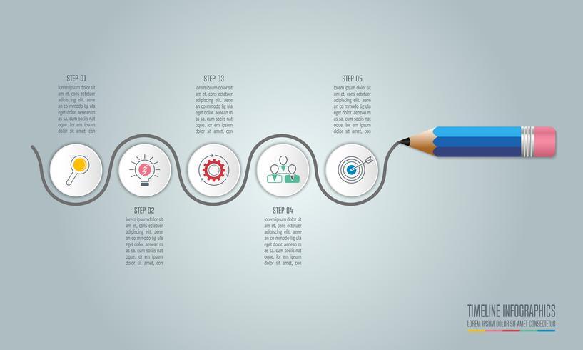 Bildung Infografiken Vorlage 5-Schritt-Option. Infographic Designvektor der Zeitachse vektor