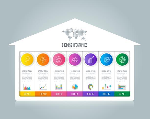 Infographik Design Geschäftskonzept mit 7 Optionen. vektor