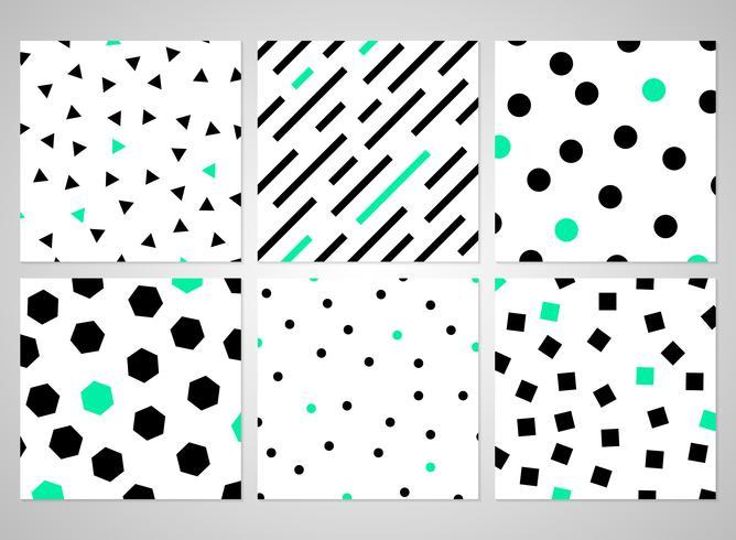 Abstraktes schwarzes geometrisches Muster stellte mit gelegentlicher grüner Farbe ein. vektor