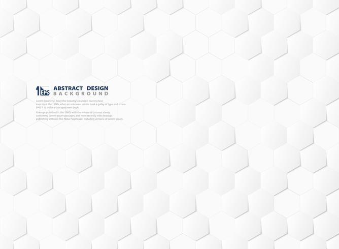 Weißer und grauer Hintergrund der abstrakten Hexagonmustertechnologie 3d. Abbildung Vektor eps10
