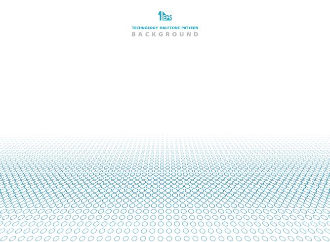 Blaue Farbe der abstrakten Technologie des Halbtonkreis-Musterhintergrundes. vektor
