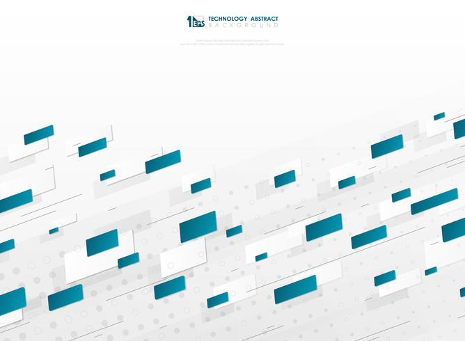 Technologie-Abdeckungs-Schablonenhintergrund des blauen quadratischen Musters der abstrakten Steigung geometrischer. Abbildung Vektor eps10