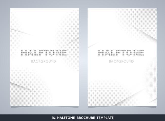 Abstrakt modern halvton broschyr mockup i grått dekorera bakgrund. vektor