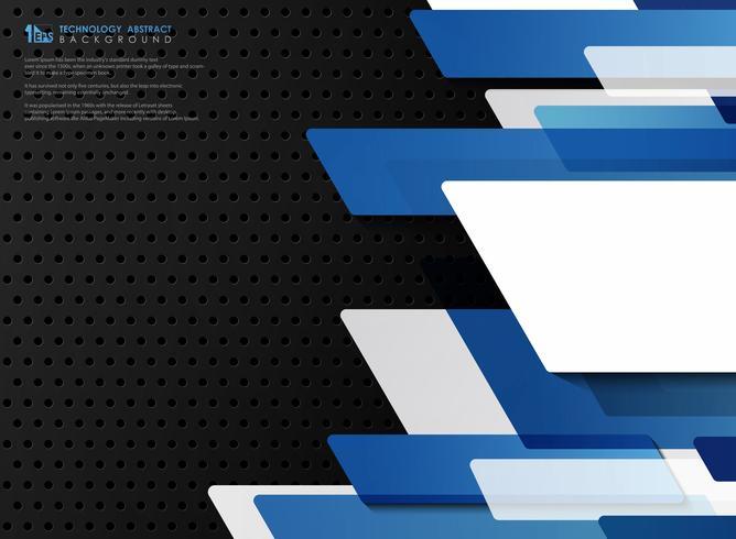 Blaue Vektorschablone der abstrakten Steigung der Technologie auf schwarzem Stahlbeschaffenheitshintergrund. Abbildung Vektor eps10