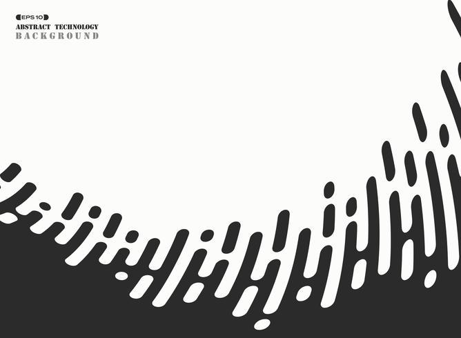 Abstrakt svart rand linje tech vågig på vit bakgrund. illustration vektor eps10
