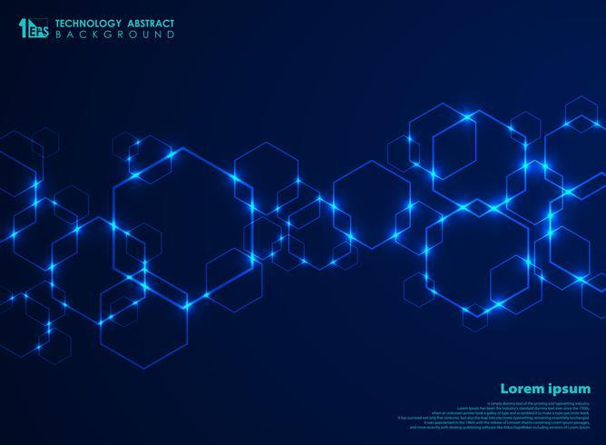 Abstrakte futuristische Hexagonform-Musterverbindung im blauen Technologiehintergrund der Steigung. vektor