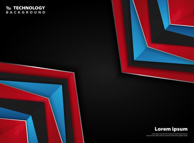 Abstrakter moderner roter blauer weißer Farbhintergrund der Seite der silbernen Dreieckformtechnologie der Steigung. vektor