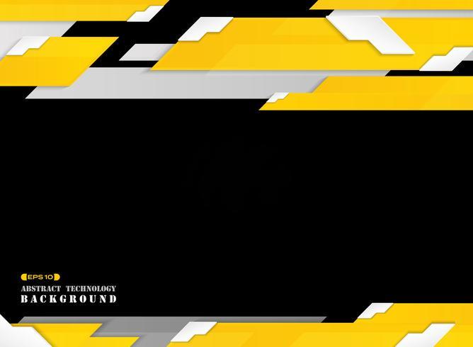 Abstrakt av futuristiska graderade gula strecklinjemönster med vit kantskuggbakgrund. vektor